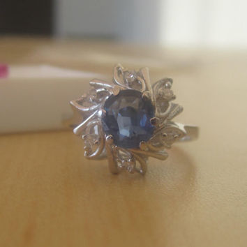 SOLD! Vintage 1.11 tcw Ceylon Blue Unheated Sapphire Diamond 14k White Gold Engagement Ring Alternative Promise Ring Cocktail Cluster Ring
