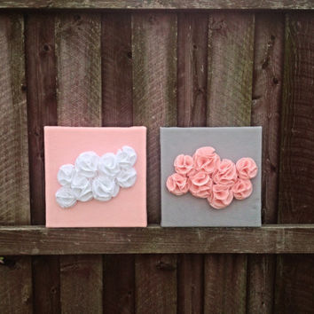 12x12 Rosette flower room decoration set- Wall Hanging- Pink and White- Pink and Grey- Flower art- Canvas- Nursery- Room
