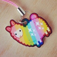 Handmade Gifts | Independent Design | Vintage Goods Rainbow Llama Cell Phone Charm - Best Sellers