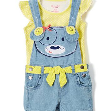 Nannette Kids Yellow Angel-Sleeve Top & Shortalls - Infant, Toddler & Girls