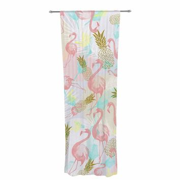 "Mmartabc ""Tropical Fruit Animals"" Pink Gold Illustration Decorative Sheer Curtain"