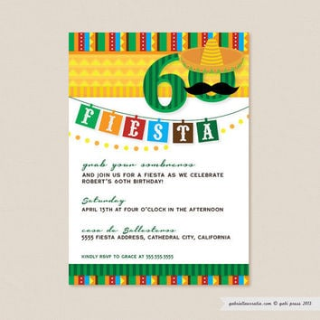 Fiesta Birthday Party  Custom Printable Invitation by gabipress