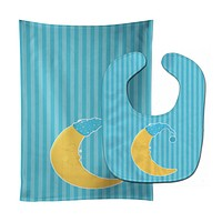 Baby Boy Moon Baby Bib & Burp Cloth BB8622STBU