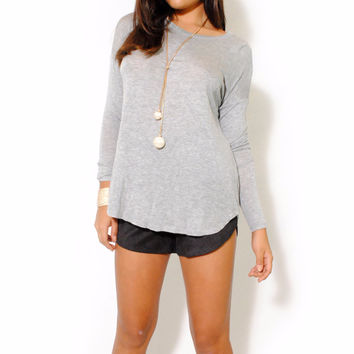 (alw) Twisted on back jersey gray blouse