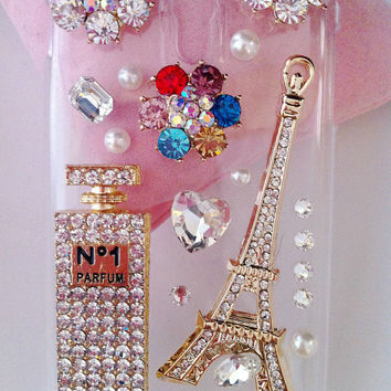 Apple iPod Touch 4 4G Gen 4th Generation Charms Gilding Eiffel Tower Perfume Bottle Colorized Flowers Crystal Rhinestones Bling Phone Case