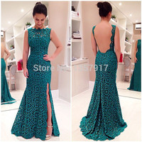 Emerald Teal  Brides Maid Dress High Neck Side Slit Mermaid Flower Lace Backless Bridesmaid Dresses Long