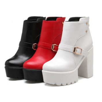 Womens Ankle Strap Heeled Platform Boots