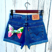 Levi's High Waisted Shorts - Lilly Pulitzer Bow - All Sizes XS-XXL