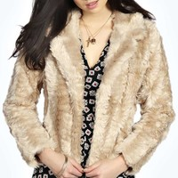 Sky Oversized Collar Faux Fur Coat