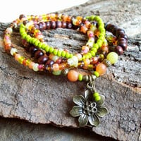 Sunshine Day - Bohemian Beaded Stretch Stack with Flower charm