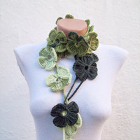 Hand crochet Lariat Scarf  Green Dark Green  White Flower Lariat Scarf Colorful Variegated Long Necklace Winter Fashion