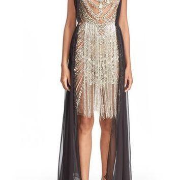 Marchesa Fringed Beaded Sleeveless Sheath Dress | Nordstrom