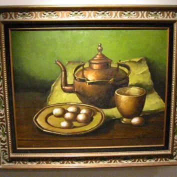 W Kance Still Life Urbanism Oil On Canvas Eggs Copper Teapot Signed