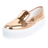 Metallic rose gold platform plimsolls