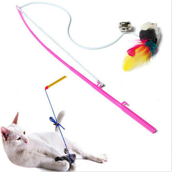 Pet Cat Bell The Dangle Faux Mouse Rod Roped Funny Fun Play Playing Toys