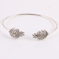 Crystal Leaf Cuff Bracelet - Gold or Silver