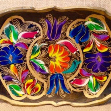 Beautiful carved hand painted wood tray