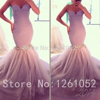 2015 Best Sell Elegant Multi-Color Mermaid Sweetheart Sleeveless Floor-Length Prom Dresses With Beadings Custom Made