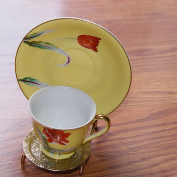 Demitasse Or Childs Cup And Saucer Occupied Japan Yellow Floral