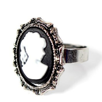 Portrait Cameo Ring Adjustable Vintage Silver Tone Antique Woman RJ23 Fashion Jewelry