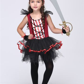 Girl Pirate Cosplay Costumes Halloween Stage Performance Child Costumes fantasia vestido Tutu dress Kids carnival party Outfit