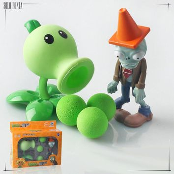 PVZ Plants vs Zombies Peashooter PVC Action Figure Model Toy Gifts Toys For Children High Quality Brinquedos, In gift box