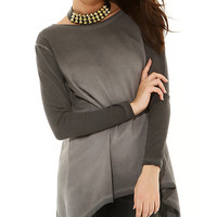 BSL Fashion Anthracite Lace Back Sidetail Top | zulily