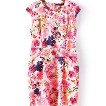 Pink Floral Print Cap Sleeve Shift Mini Dress