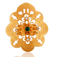 18K Yellow Gold Plated Brass Green Onyx Party Wear Cocktail Ring