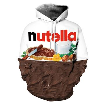 2017 Nutella Pattern Men & Women Pullover Couples Casual Style 3D Print Personality Autumn Winter  oversized hoodie Sweatshirts
