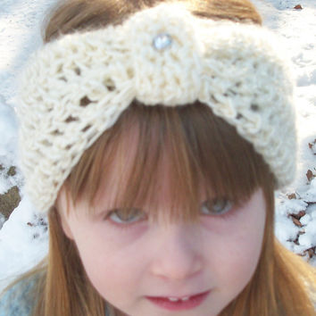 Children's Bow Headband , Child Ear Warmer , Toddler to Preteen Head Warme r, Cream , Rhinestone