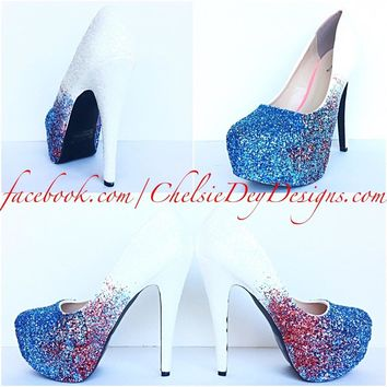 Aqua Red Ombre Glitter High Heels, Something Blue White Wedding Shoes
