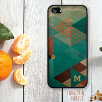 Dark Geometric Pattern With Wood Texture. Customize With Your Initial. iPhone 4 // 4s // 5 // 5s // 5c