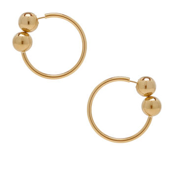 JW Anderson Double Ball Hoop Earrings in Gold | FWRD