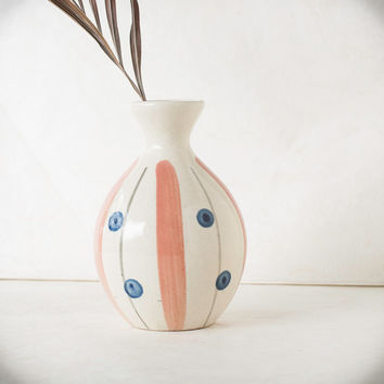Vintage Asian Vase Pottery Blue Spots Coral Gray Stripes