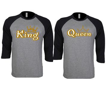 Gold King and Queen Couple Gray / Black Baseball T-shirt