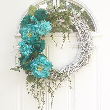 Turquoise Floral Grapevine Wreath