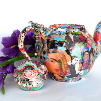 Teapot Frida Kahlo Mexican Artist Decoupaged With Rhinestones