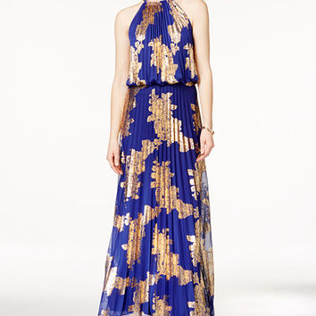 MSK Metallic-Print Pleated Blouson Gown - Dresses - Women - Macy's