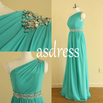 Turquoise Chiffon Bridesmaid Dresses, One Shoulder Long Bridesmaid Gowns,Beading Bridesmaid Dress Custom Green Bridesmaid Gowns gown