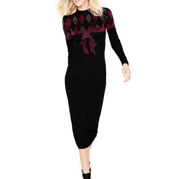 What Goes Around Comes Around Vintage Women's Azzedine Alaia   Harlequin Bow Knit Dress