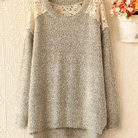 Fashion round collar hollow out hook flower gold long-sleeved sweater
