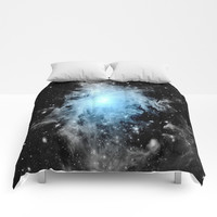 Orion nebULa Black White Blue Space Comforters by 2sweet4words Designs
