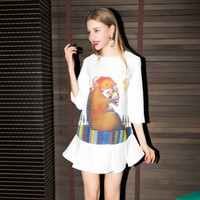 Animal Printed Casual Doll Collar Pleated Mini Dress