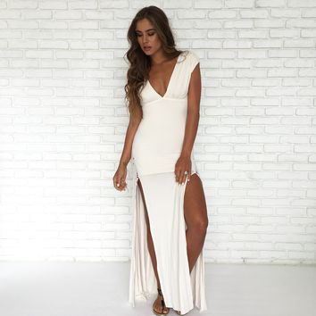 Ivory Crochet Maxi Dress by SKY