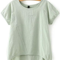 Olive Green Short Sleeve Dip Hem Blouse