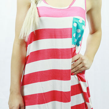 PLAYING WITH POLKA DOTS TANK IN CORAL/MINT MULTI