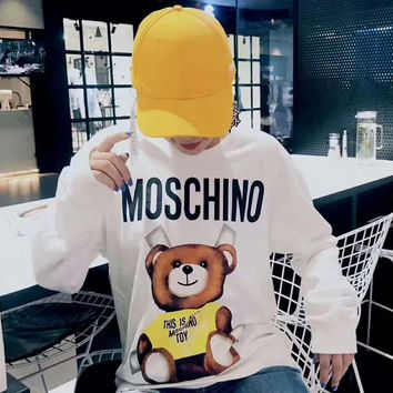 MOSCHION Long Sleeve Fashion Print Pullover Tops Sweater Sweatshirts G-A-ADNKPFD-XBW