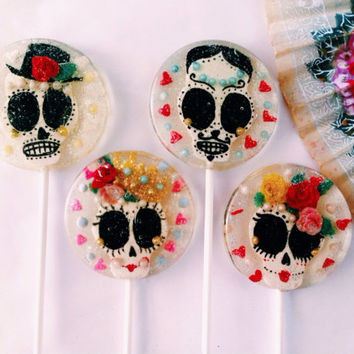 2 Horchata flavored handmade Mexican wedding sugar skull lollipops