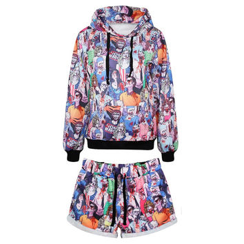 Women's Tracksuit Collage Sport Suit Hoodies Sweatshirt + Pants 2pc Set Jogging Sportswear